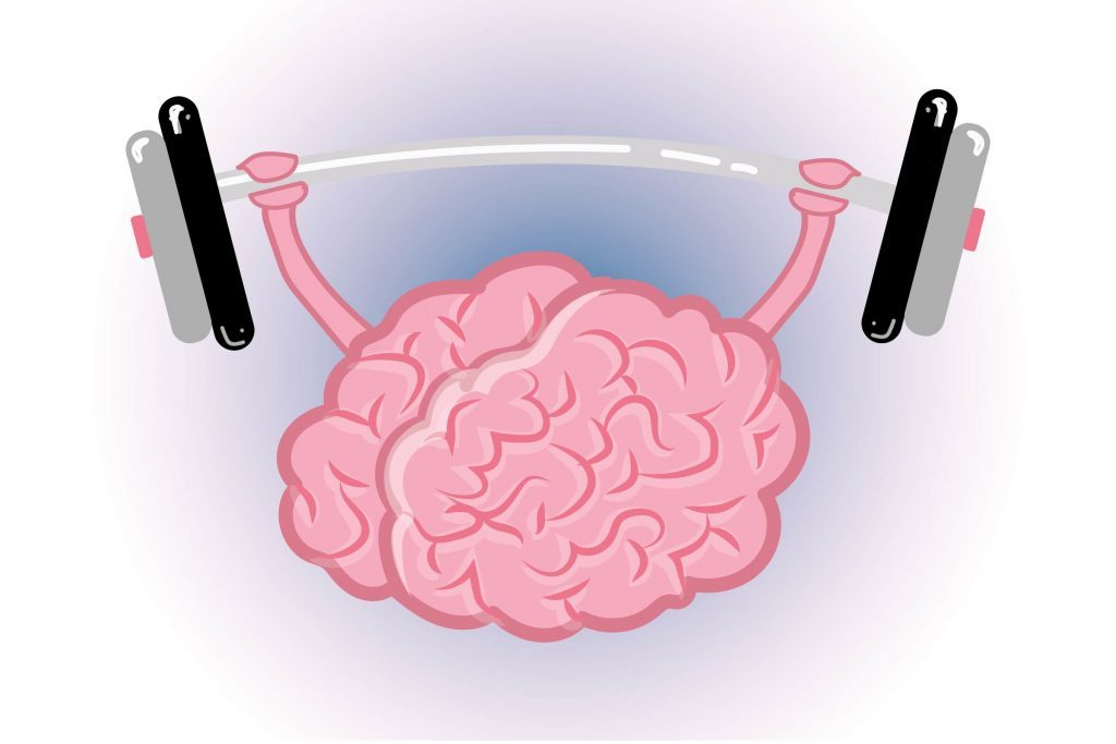 "Graphic of human brain ""lifting weights"""