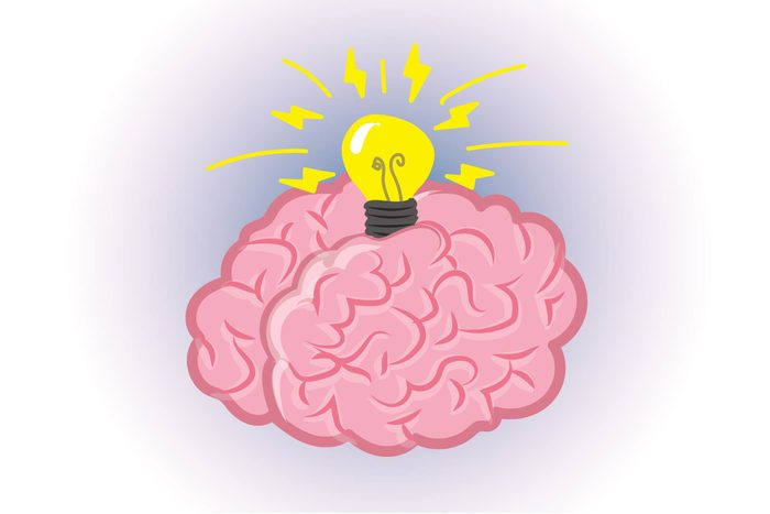 Graphic of human brain with light bulb on top