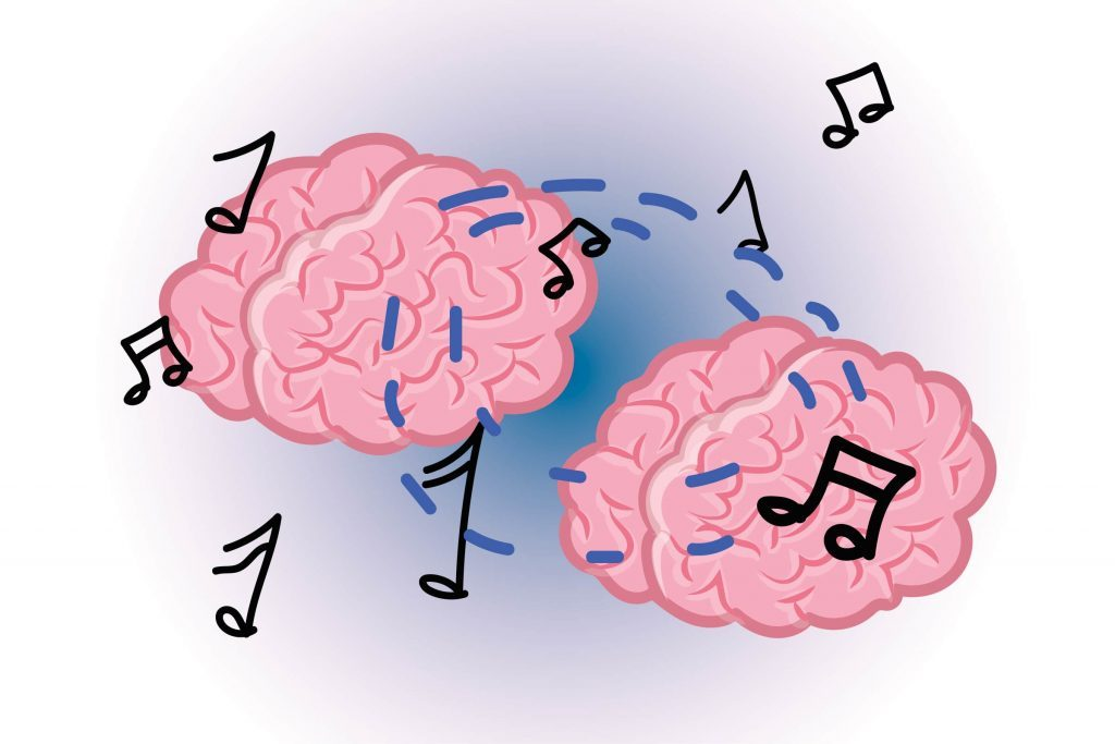 Graphic of two human brains with musical notes all around