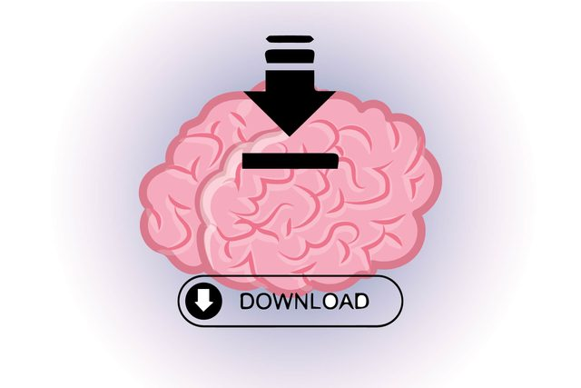"Graphic of human brain with word ""download"" and download arrow"