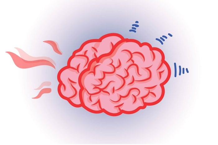Graphic of human brain with brain waves