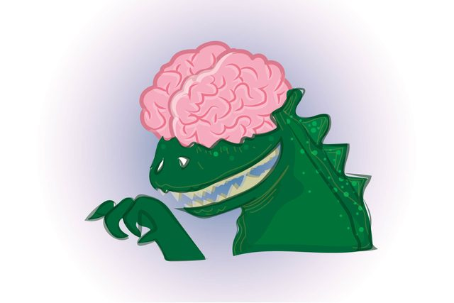 Dinosaur with human brain on top