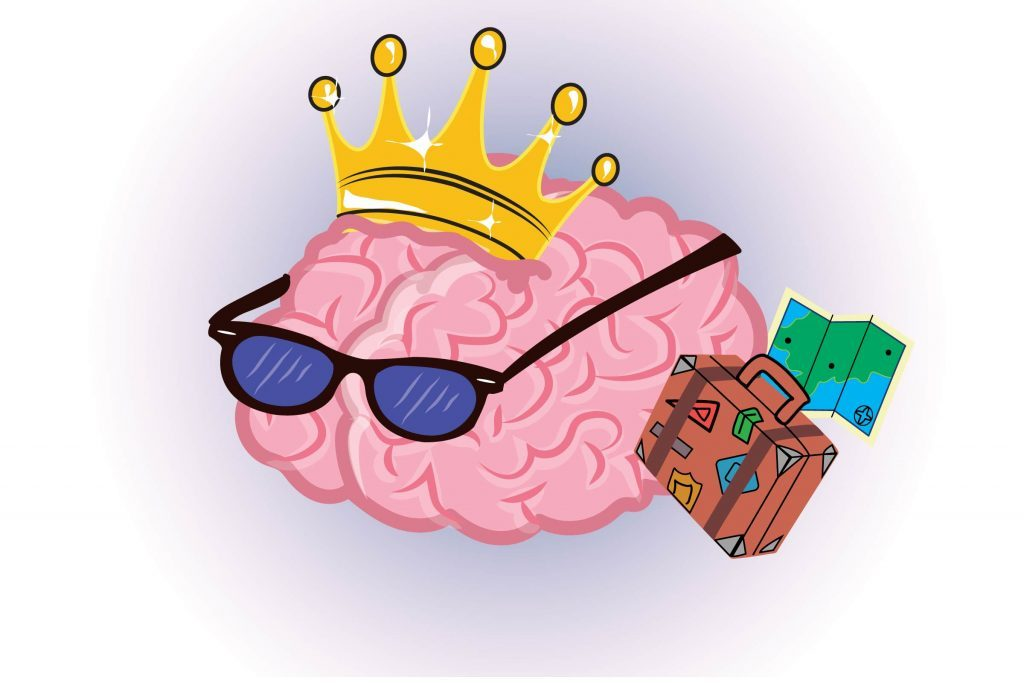 "Graphic of ""traveling"" human brain with sunglasses, suitcase and map"