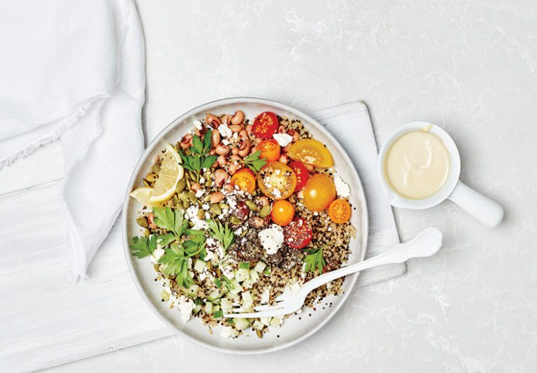 Healthy Weeknight Dinner Recipe | Black Eyed Pea Quinoa Salad
