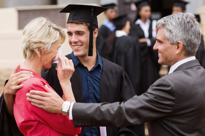mother crying at son's graduation