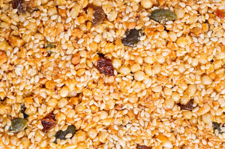 Sunflower seeds, Sesame seeds and nuts in caramel glaze. Seed texture.