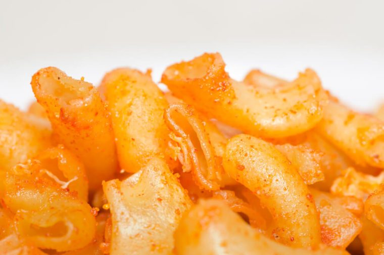 close up of spicy macaroni and cheese
