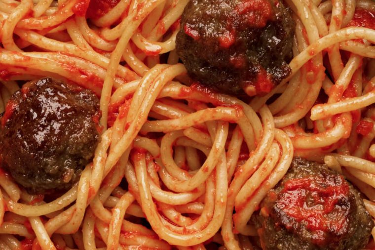 close up of american italian meatball spaghetti food background