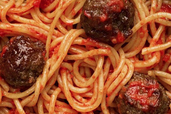 close up of american italian meatball spaghetti food background