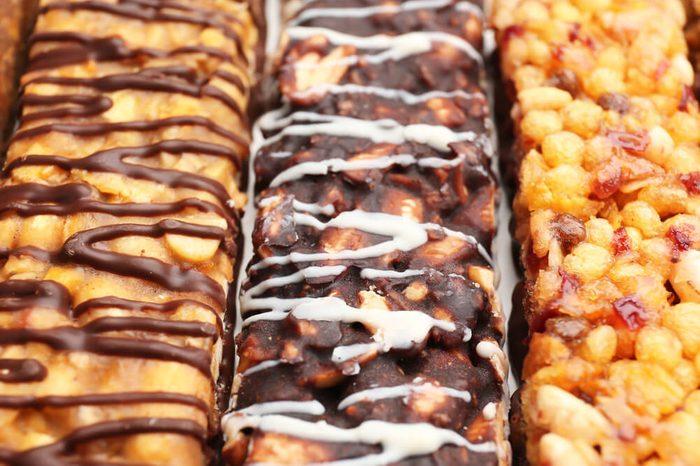 Yummy cereal bars, closeup
