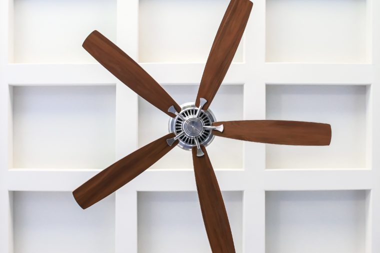 Fan on Box Beam Ceiling