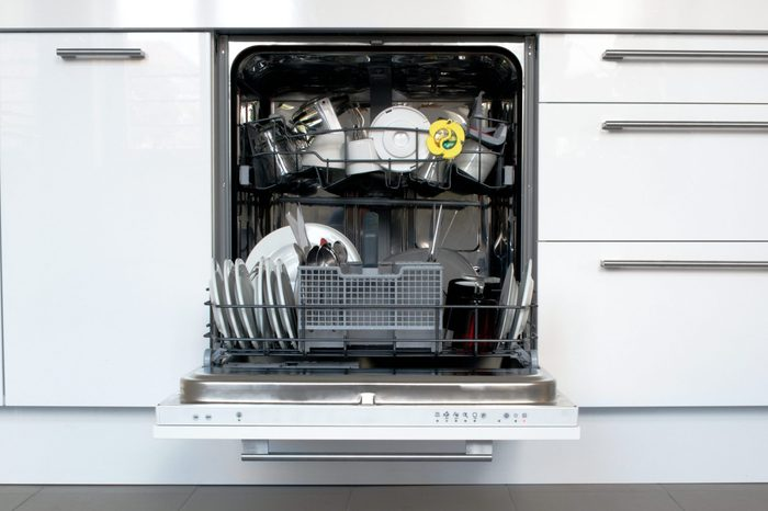 Open Dishwasher and Kitchen Drawers Cabinets