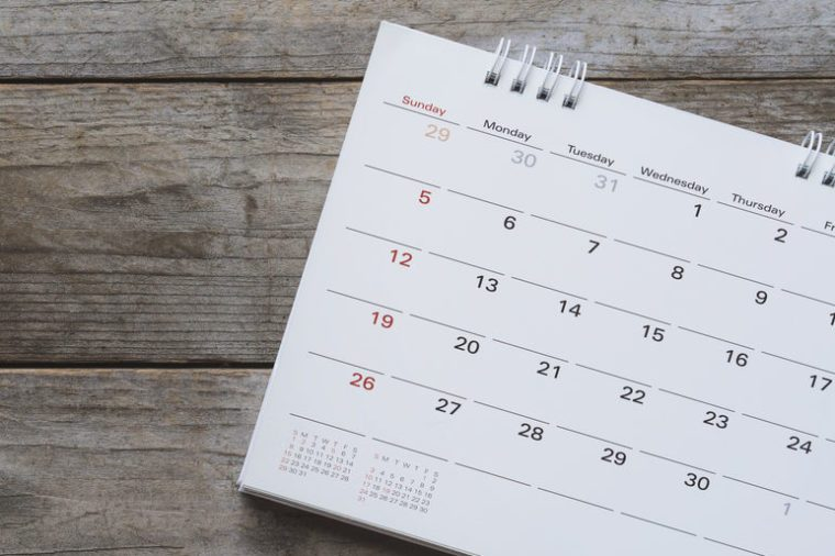 close up of calendar on the table