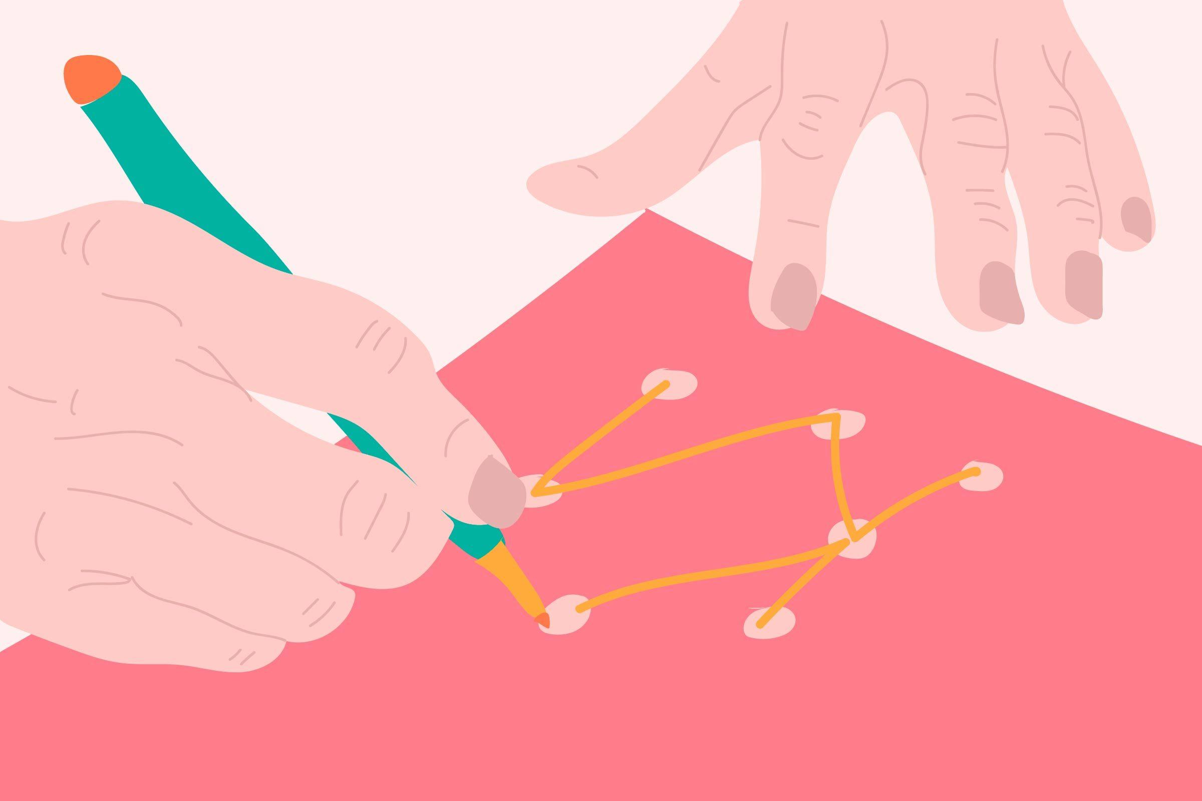 illustration of hands drawing, taking SAGE test