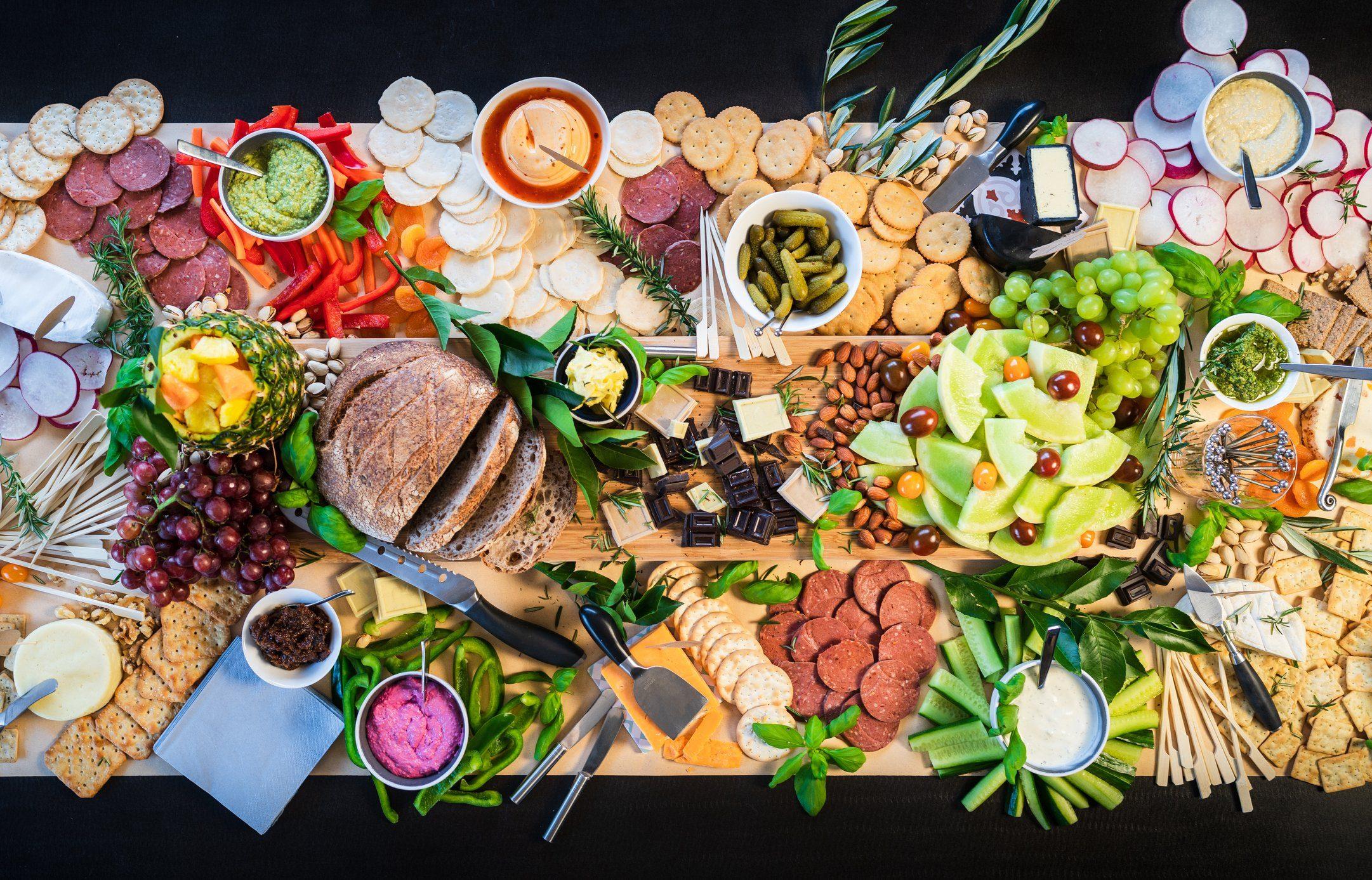 italian mediterranean food shot from above
