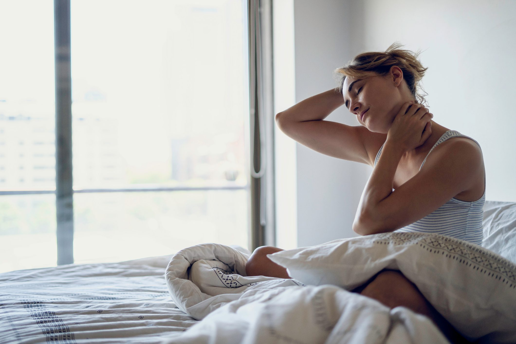 body does overnight | woman sore neck