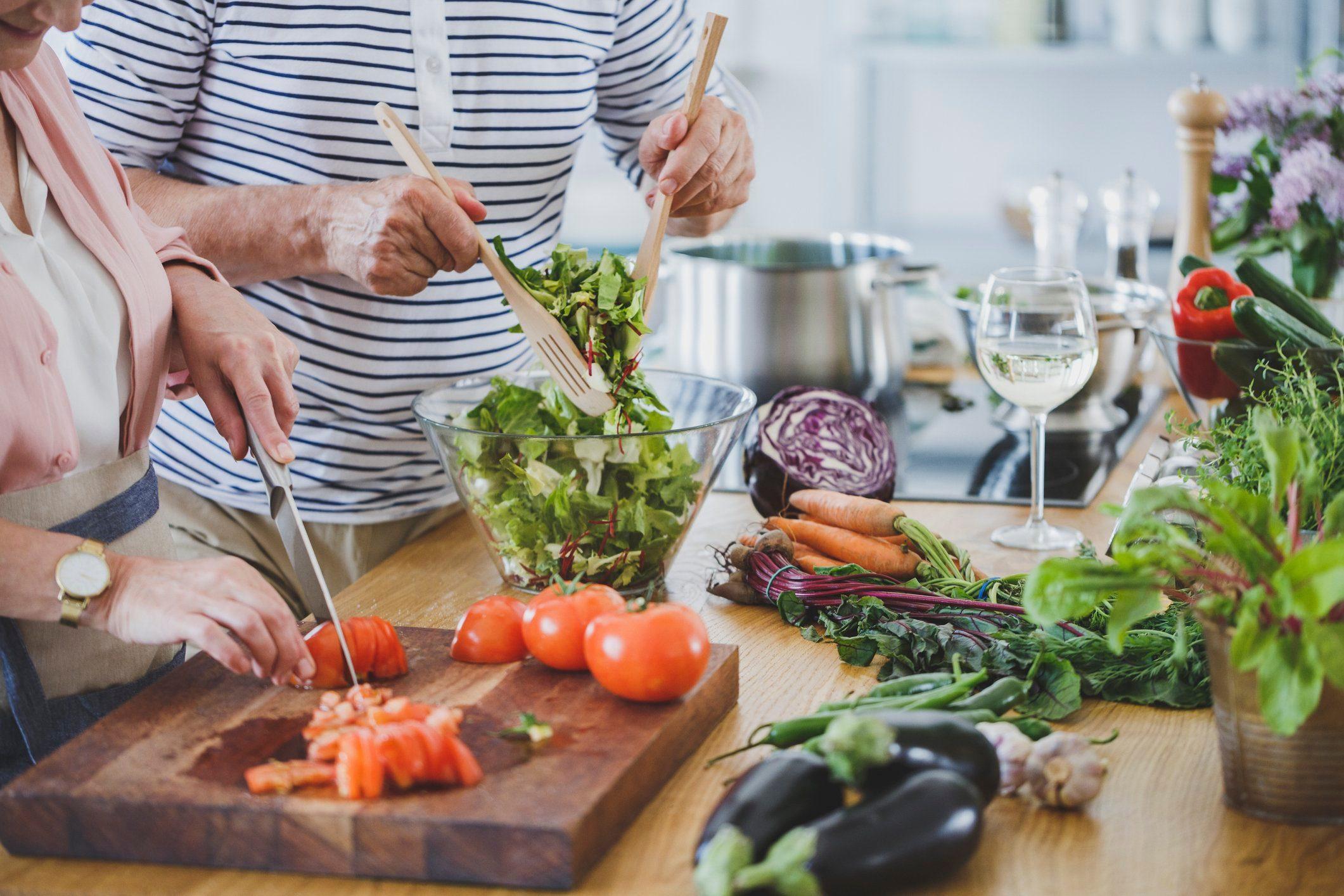 preparing salad at home