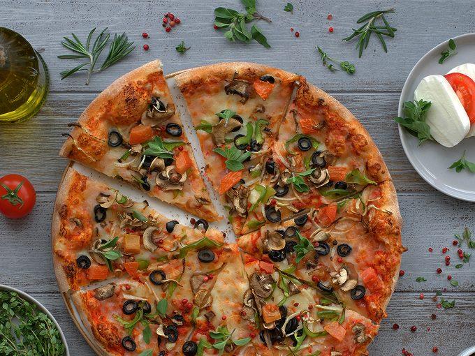 pizza and caprese salad