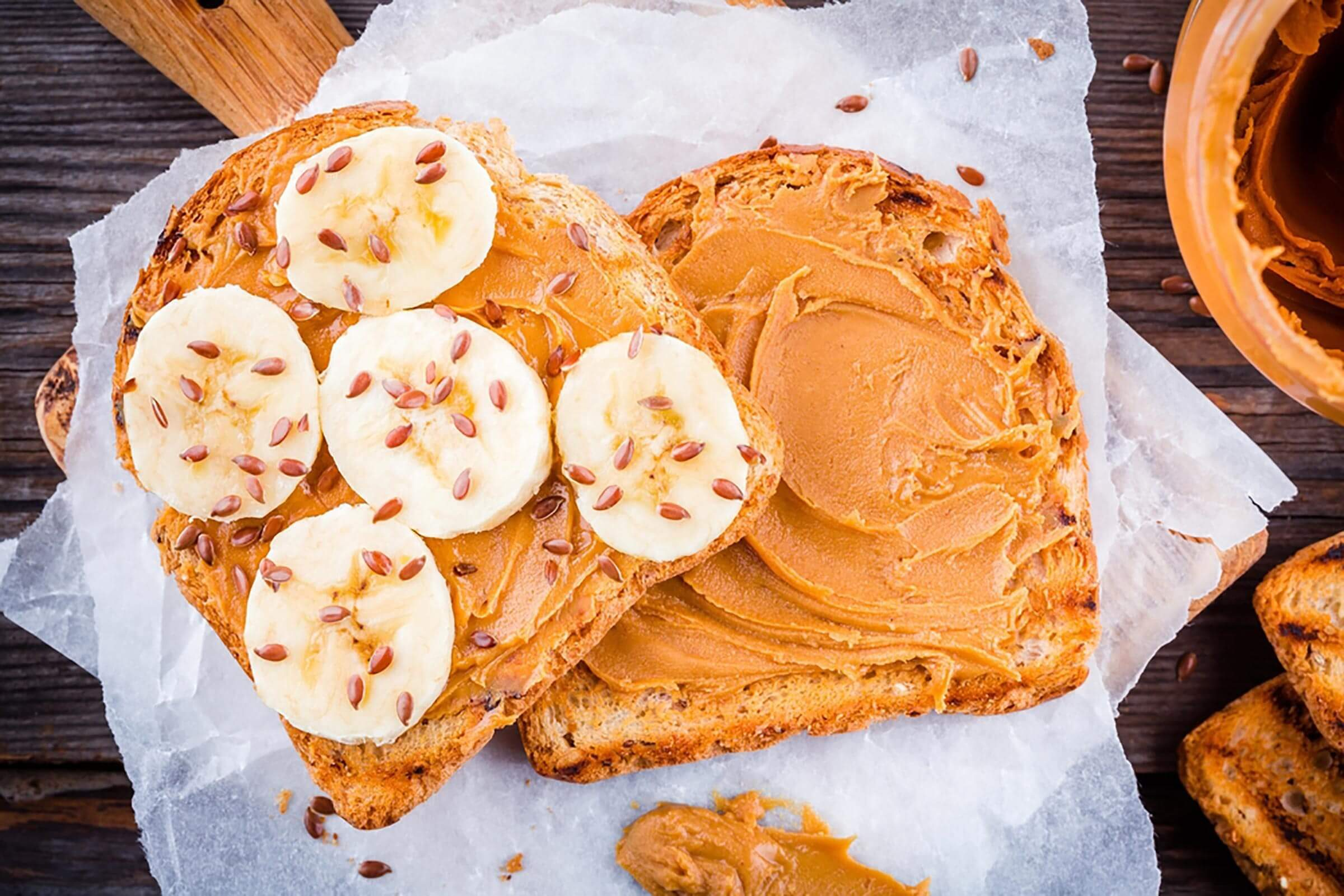 flaxseeds | toast with peanut butter, banana, and flaxseeds