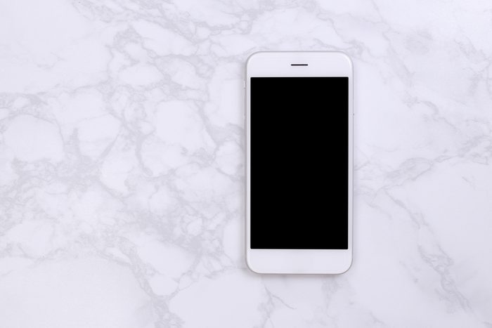 shouldn't be stored in the bathroom | White mockup smartphon on marble background