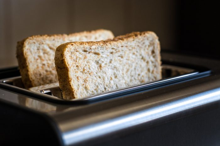 doctors eat for breakfast   close up of bread in toaster