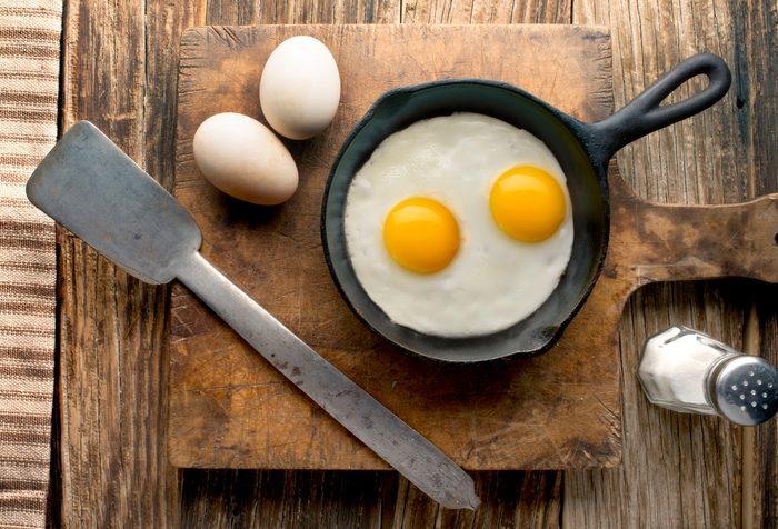 doctors eat for breakfast   eggs in pan overhead