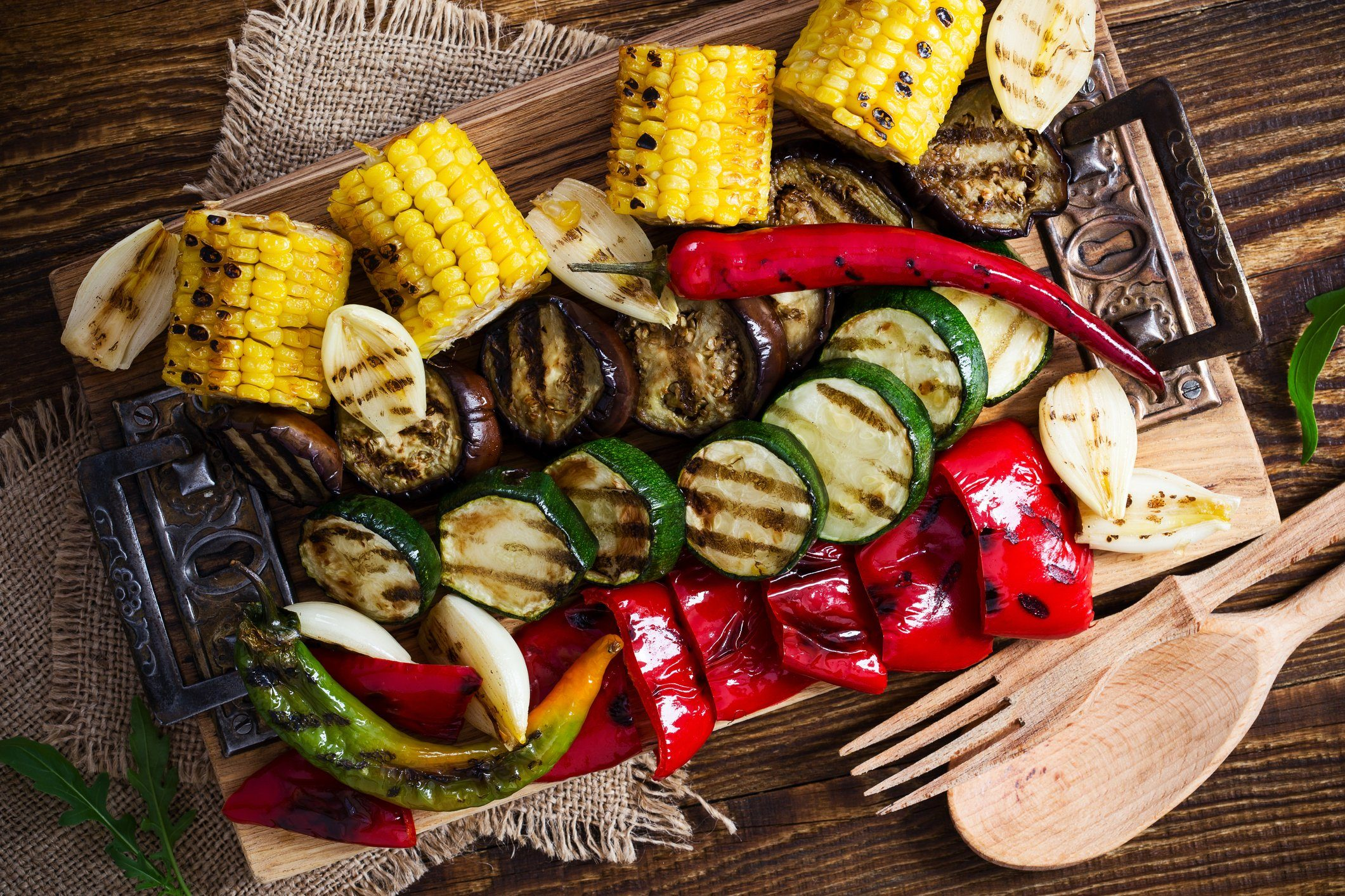 healthier grilling   grilled vegetables shot from above
