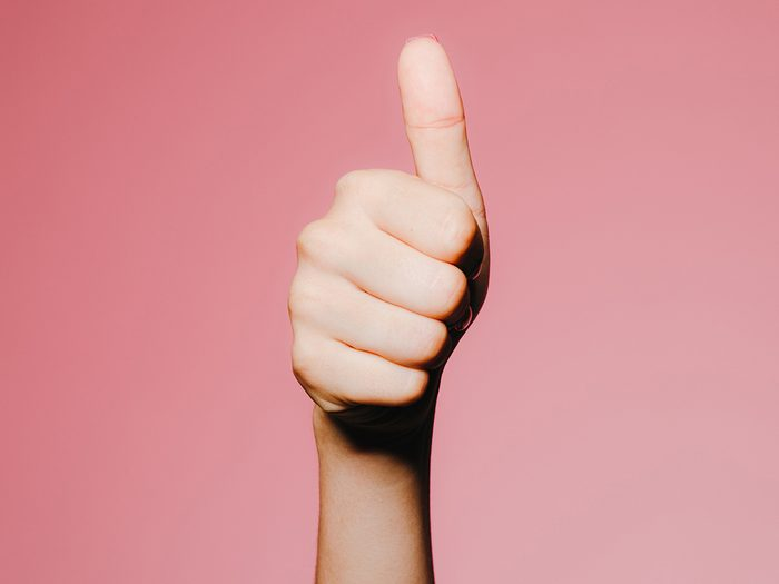 hand giving thumbs-up   hand-care