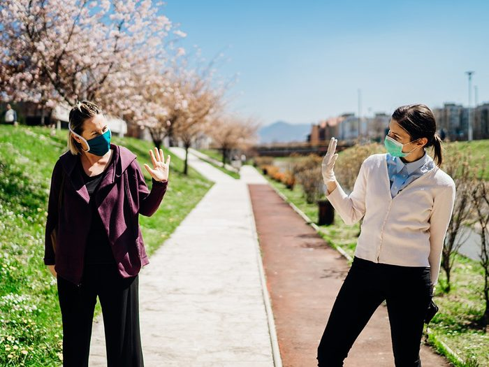 How to make walking less boring - two friends social distancing