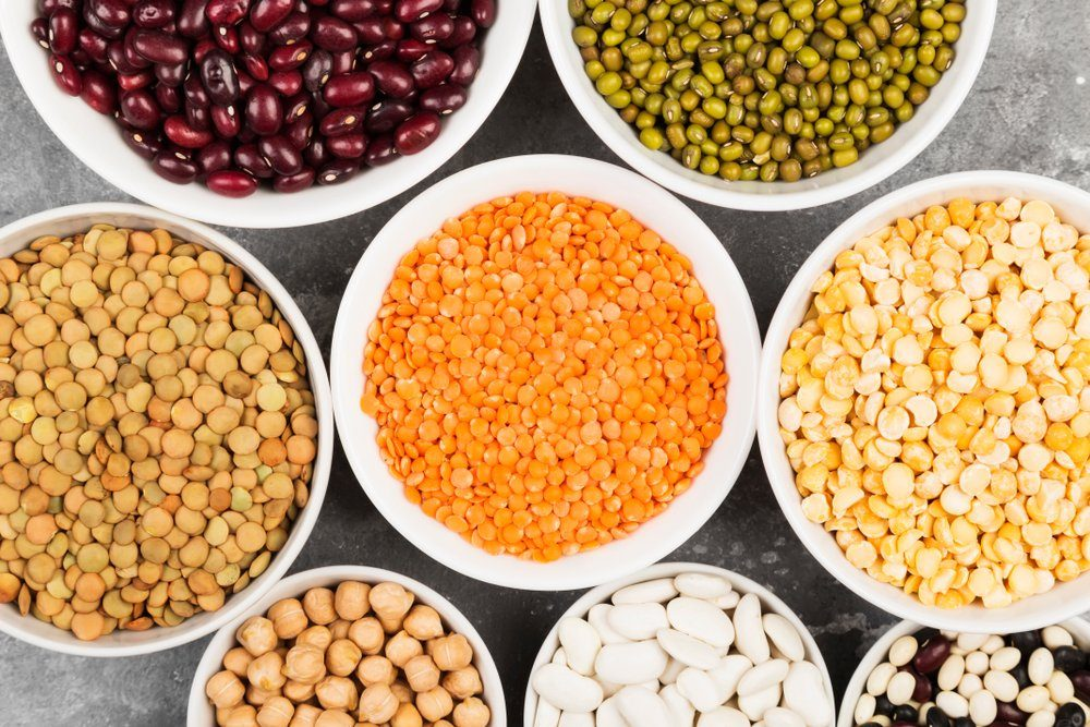 Assortment of beans (red lentil, green lentil, chickpea, peas, red beans, white beans, mix beans, mung bean) on gray background | foods to avoid before workout