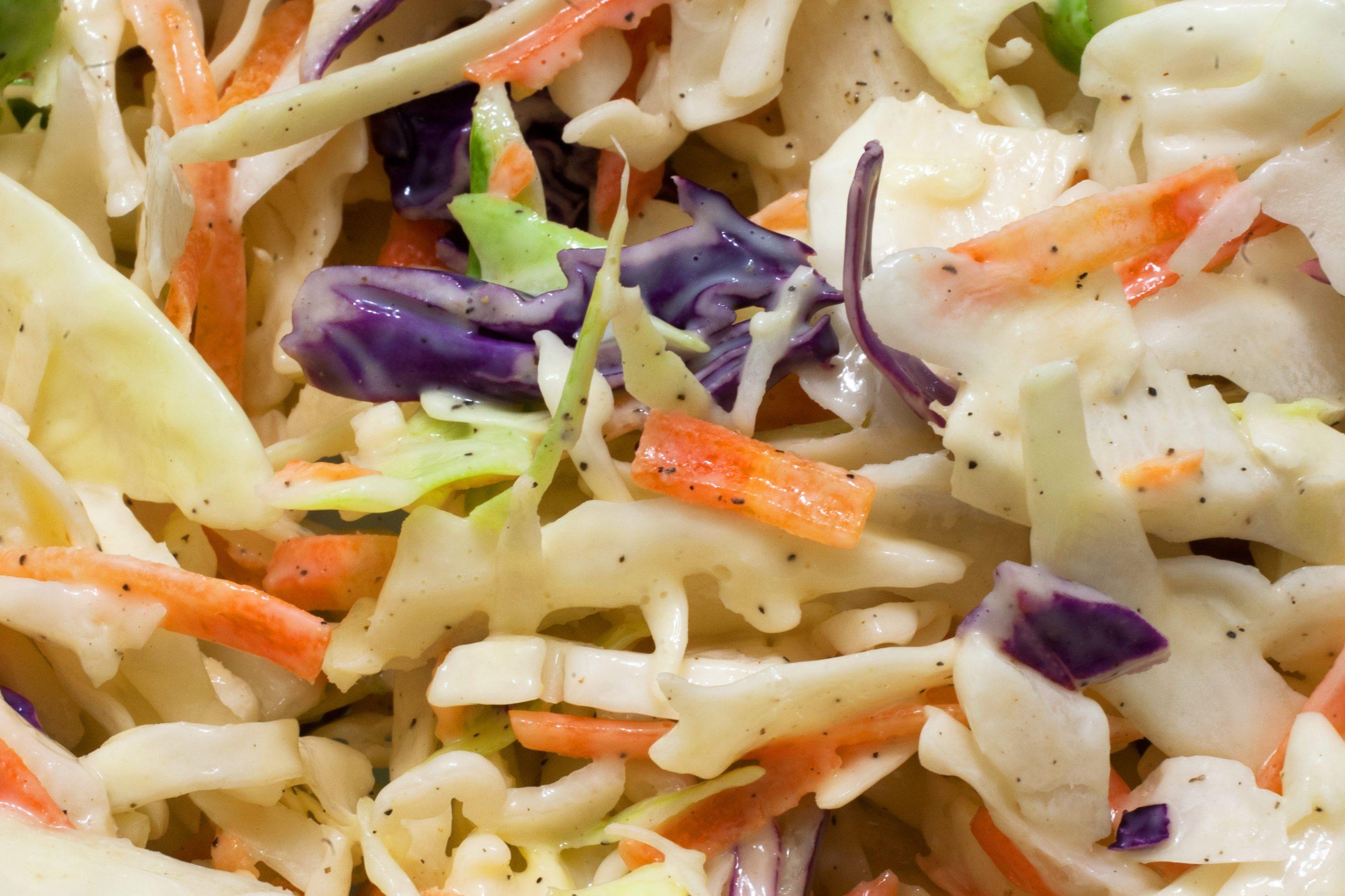 healthier grilling ideas | salad cabbage coleslaw macro food background