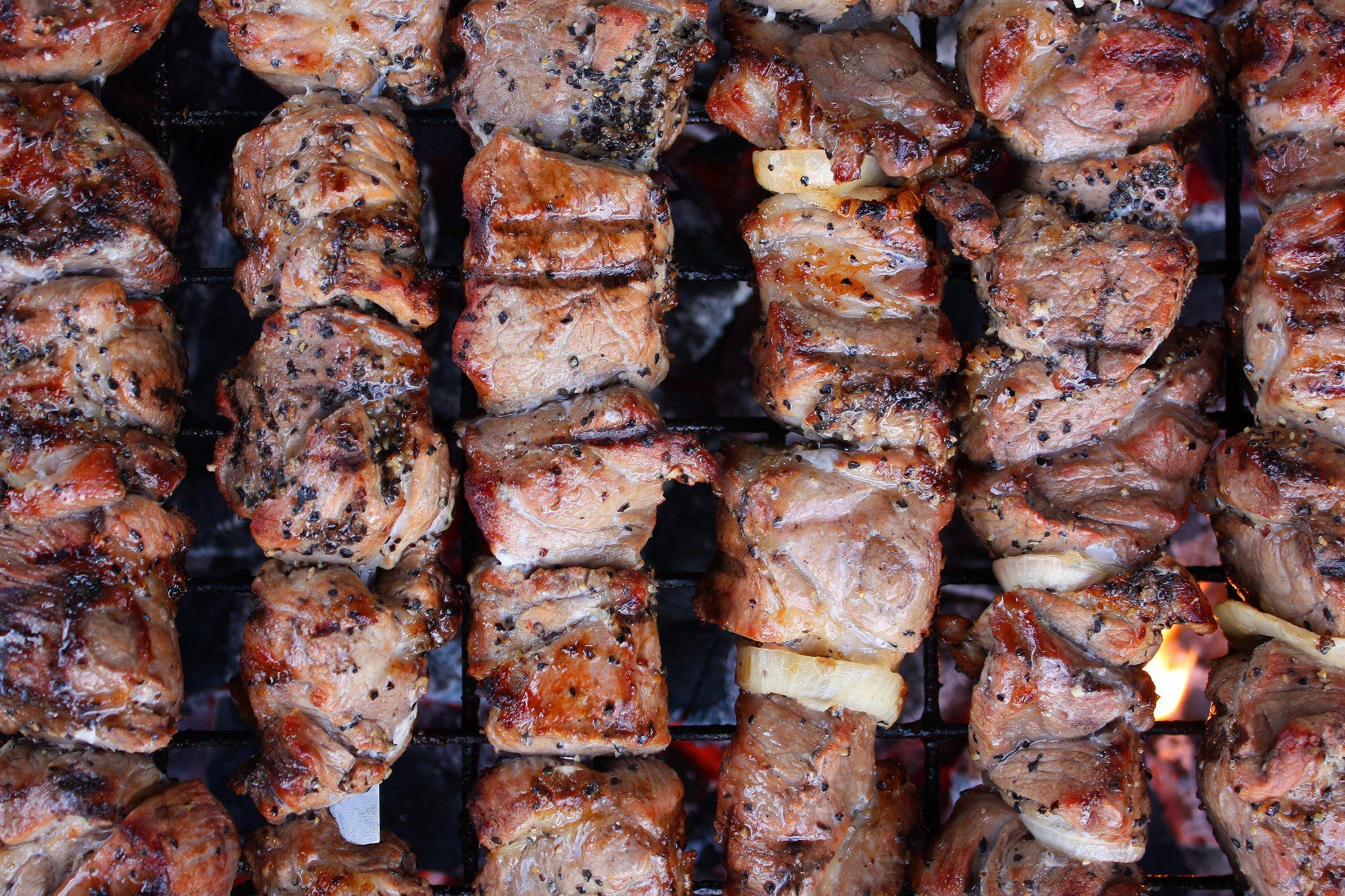 healthier grilling ideas | Full Frame Shot Of Meat On Barbecue Grill