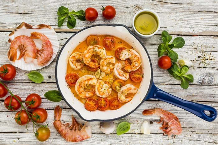 shrimp with tomatoes and garlic. Mediterranean food.