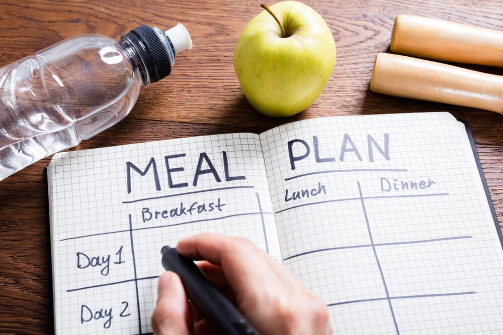 reach your goal weight | High Angle View Of A Person Hand Filling Meal Plan In Notebook At Wooden Desk
