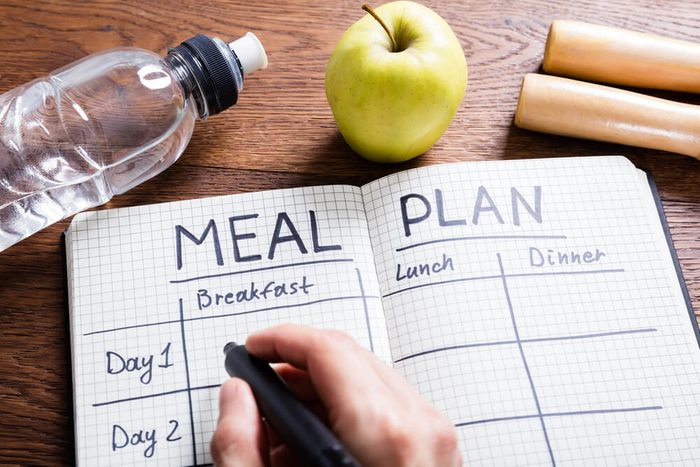 reach your goal weight   High Angle View Of A Person Hand Filling Meal Plan In Notebook At Wooden Desk