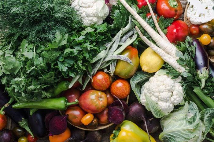 mediterranean diet   colorful variety, plant based food, homegrown crop