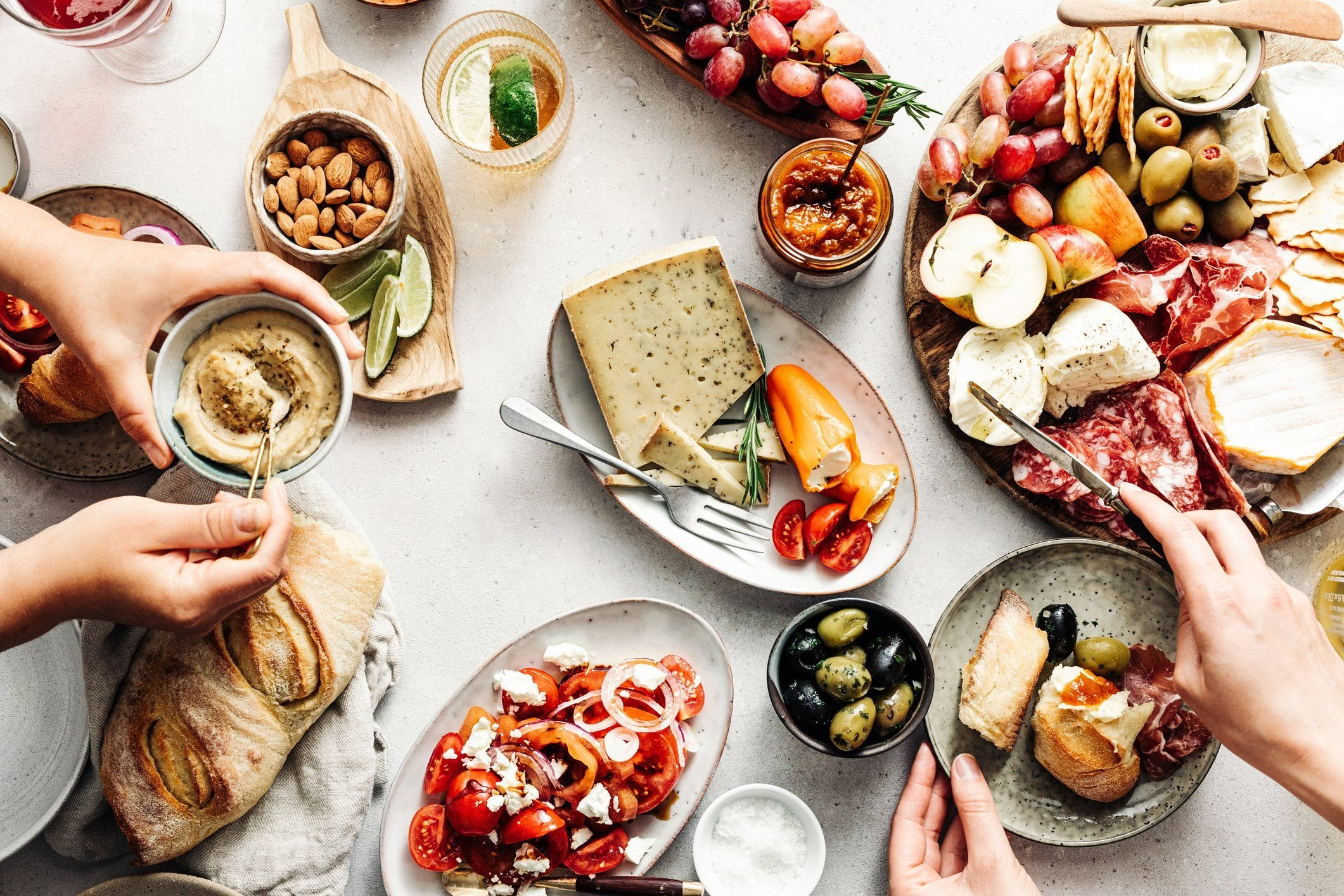 mediterranean diet | overhead shot of mediterranean food on table