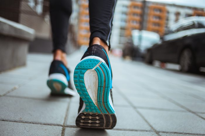 mediterranean diet   Close up shot of runner's shoes
