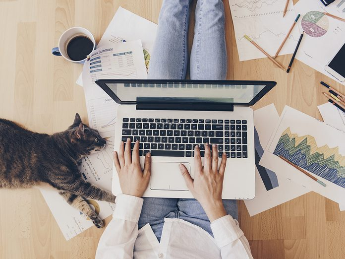 fix aches and pains when working from home | woman at home with cat | woman working from home
