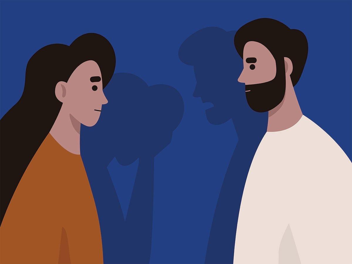 gaslighting   heterosexual couple arguing