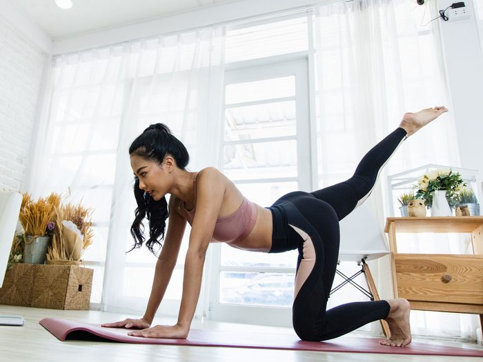 at-home circuit | woman working out at home