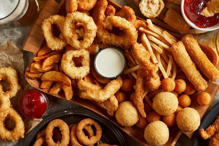 fried foods including French fries and onion rings