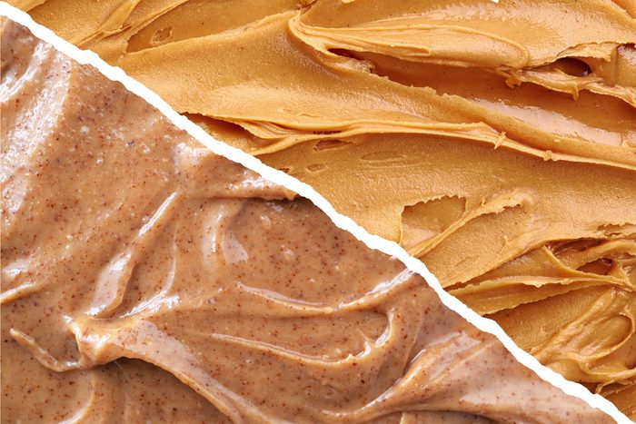 almond butter vs peanut butter | split screen of peanut butter on one side and almond butter on the other