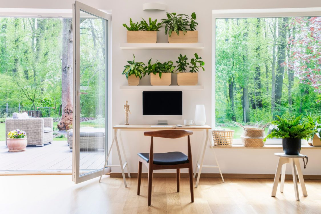 healthier home changes | home office with lots of plants and desk