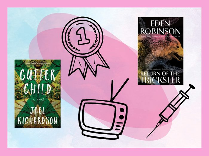 book covers, a medal, tv, and needle against a colourful background   what to look forward to in 2021