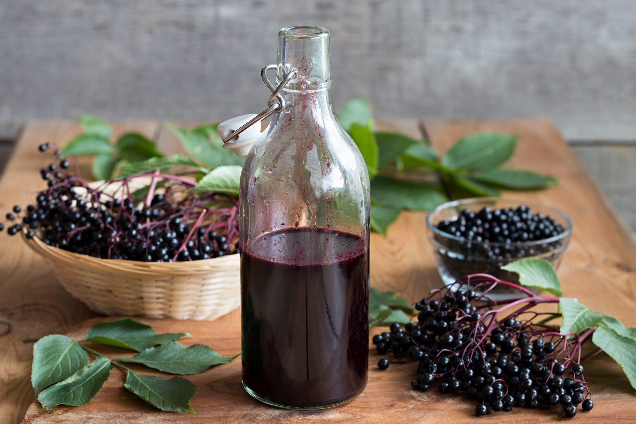 A bottle of elderberry syrup