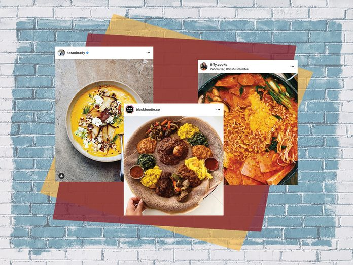 canadian food accounts | three instagram posts on top of a colourful backdrop