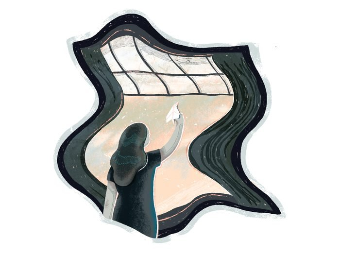 covid one year later | illustration of a woman looking out a window and ready to throw a paper plane outside