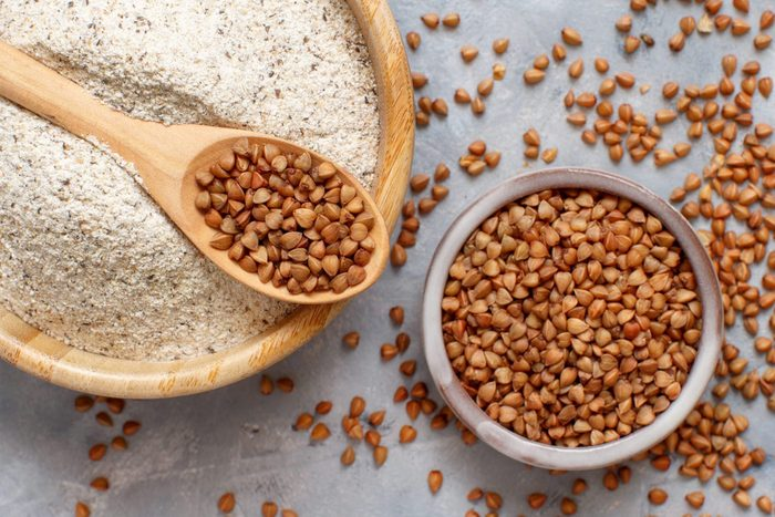 what is buckwheat   Buckwheat Flour In A Bowl And Buckwheat Grain