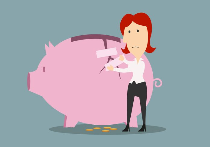 Emergency Savings Fund | illustration of a woman patching up a piggy bank